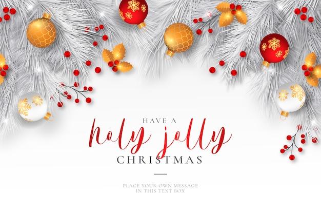 Elegante fondo de navidad con adornos realistas vector gratuito