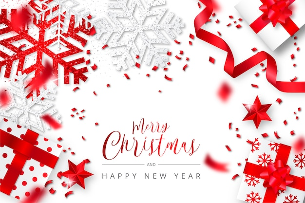 Elegante fondo de navidad realista blanco y rojo vector gratuito
