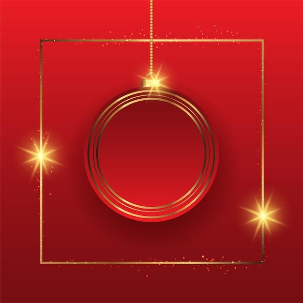 Elegante fondo navideño con adornos colgantes en oro y rojo. vector gratuito