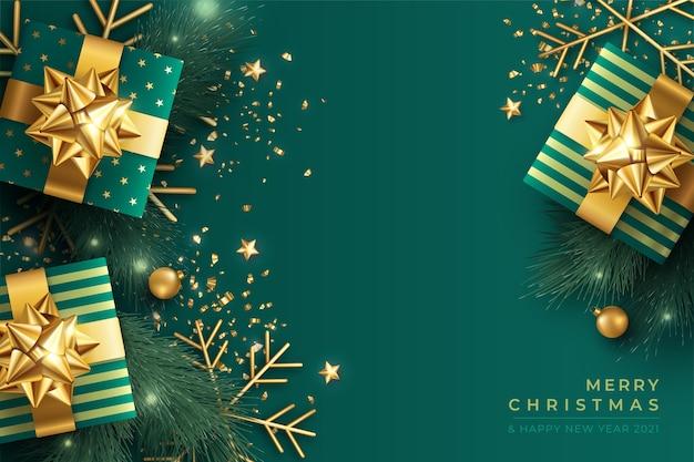 Elegante fondo navideño en verde y dorado. vector gratuito