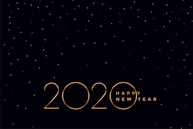 Elegante fondo negro y dorado 2020 año nuevo vector gratuito