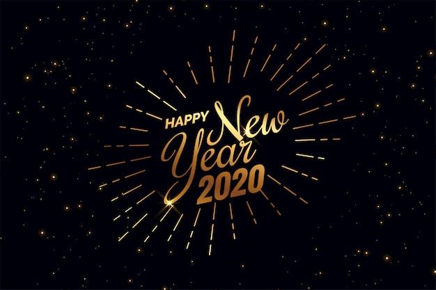Elegante fondo negro y dorado feliz año nuevo 2020 vector gratuito