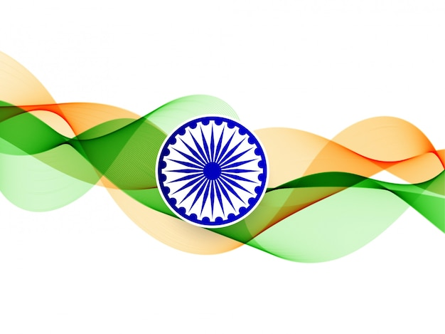 Elegante fondo ondulado de la bandera india vector gratuito