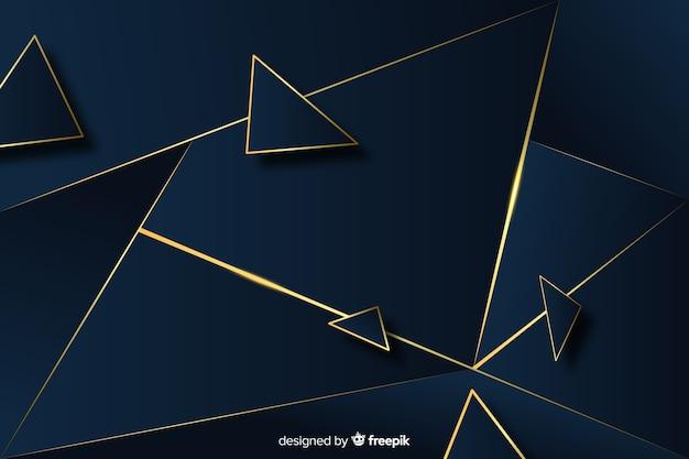 Elegante fondo poligonal oscuro y dorado. vector gratuito