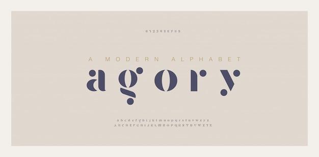 Elegante fuente y número de letras del alfabeto impresionantes Vector Premium