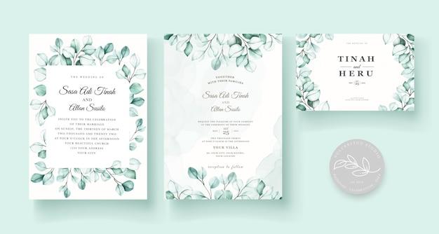 Elegante juego de tarjetas de invitación de boda de eucalipto vector gratuito