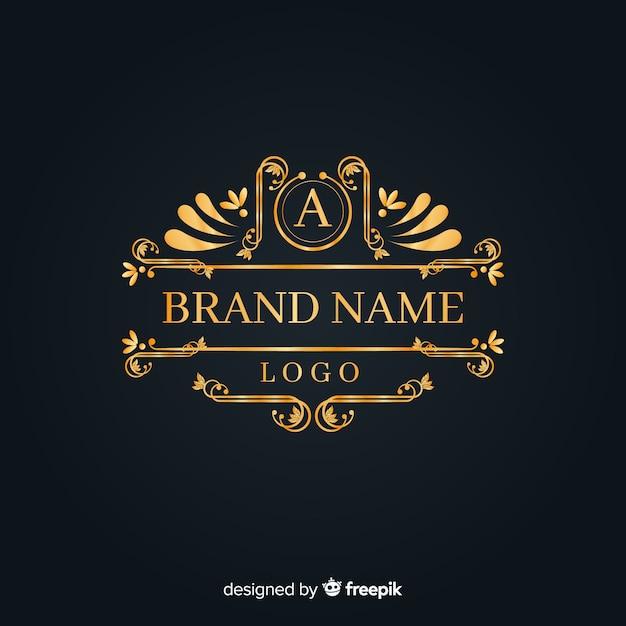 Elegante logo ornamental vintage vector gratuito