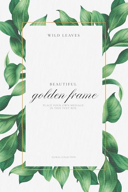 Elegante marco floral con hermosas hojas vector gratuito