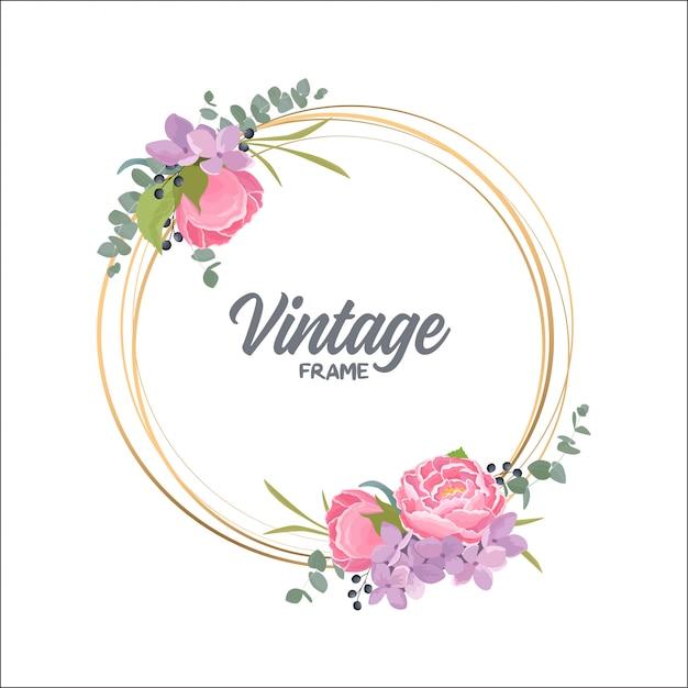 Elegante marco redondo floral con flores de acuarela | Descargar ...