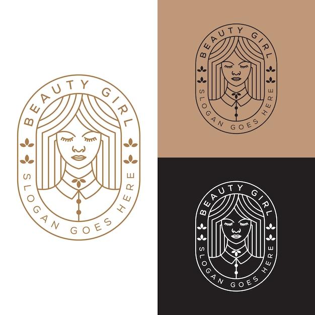 Elegante mujer de belleza, plantilla de vector de diseño de logotipo de línea chica arte Vector Premium