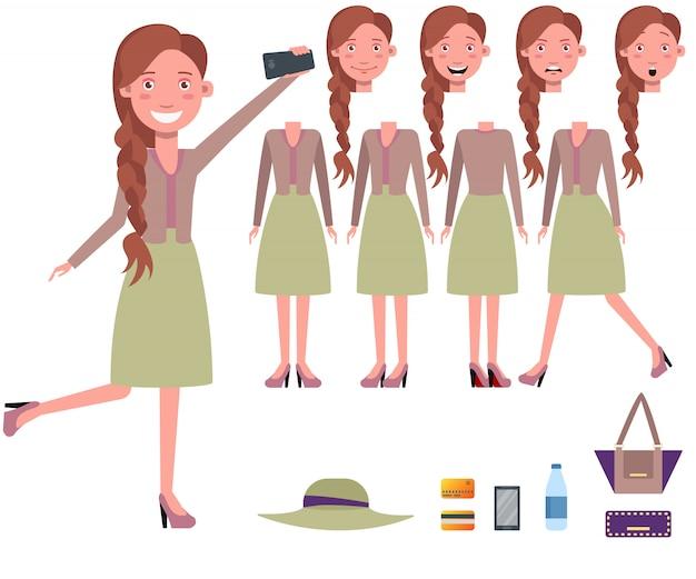 Elegante mujer tomando juego de caracteres selfie con diferentes poses vector gratuito