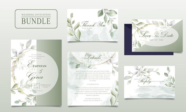 Elegante paquete de tarjetas de invitación de boda con hojas verdes Vector Premium