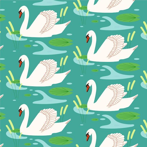 Elegante patrón de cisne vector gratuito