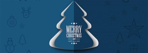 Elegante plantilla de banner de árbol de navidad vector gratuito