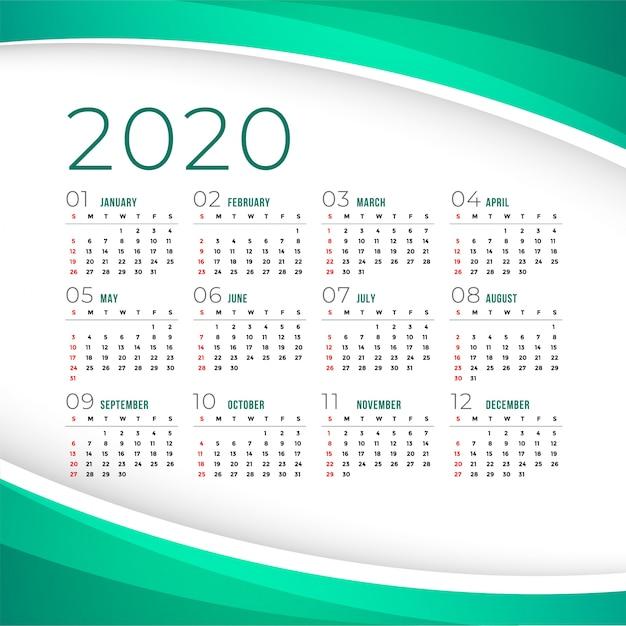 Elegante plantilla de calendario 2020 vector gratuito