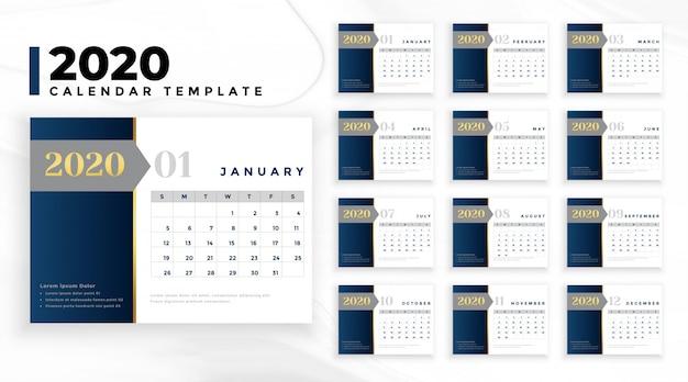 Elegante plantilla de calendario profesional de negocios 2020 vector gratuito