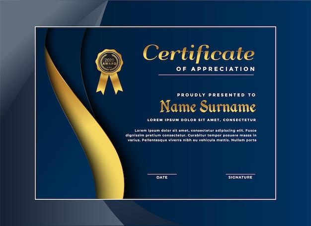 Elegante plantilla de certificado de logros Vector Premium