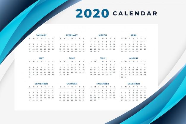 Elegante plantilla de diseño de calendario azul 2020 vector gratuito