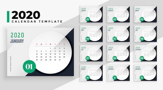 Elegante plantilla de diseño de calendario de estilo empresarial 2020 vector gratuito