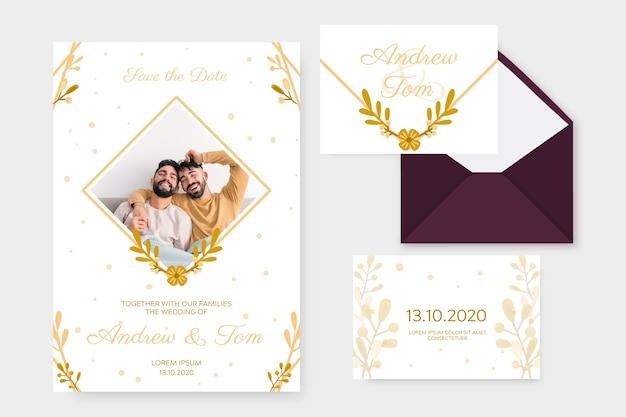 Elegante plantilla de invitación de boda vector gratuito