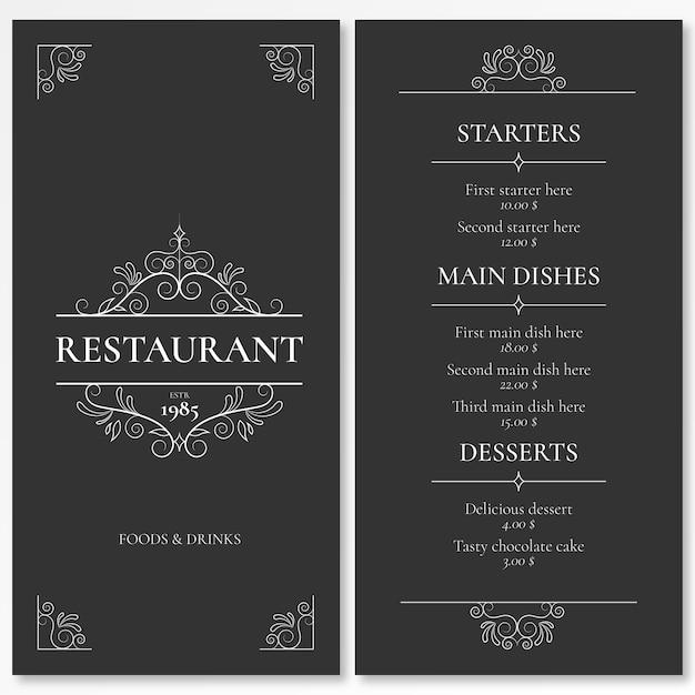 Elegante plantilla de menú para restaurante con adornos vector gratuito