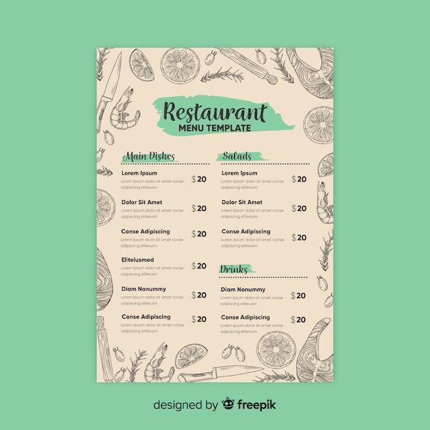 Elegante plantilla de menú de restaurante con dibujos vector gratuito