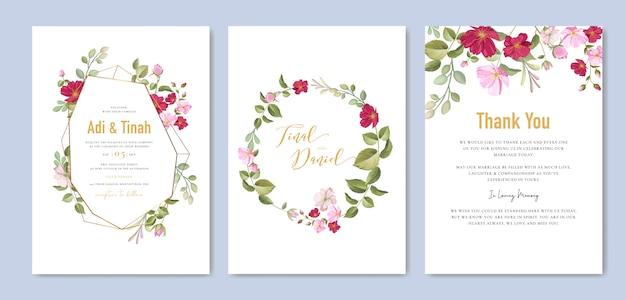 Elegante plantilla de tarjeta de boda con corona de rosas hermosas Vector Premium