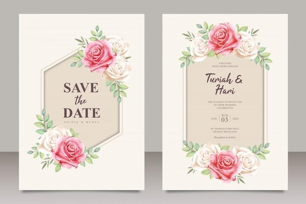 Elegante plantilla de tarjeta de boda con hermosa acuarela floral Vector Premium