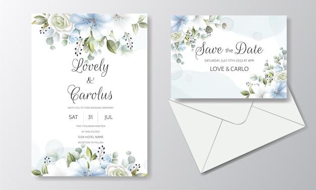 Elegante plantilla de tarjeta de invitación de boda con decoración floral Vector Premium