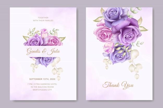 Elegante plantilla de tarjeta de invitación de boda con decoración de flores de acuarela Vector Premium