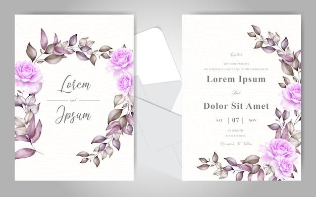 Elegante plantilla de tarjeta de invitación de boda con hermoso adorno floral Vector Premium