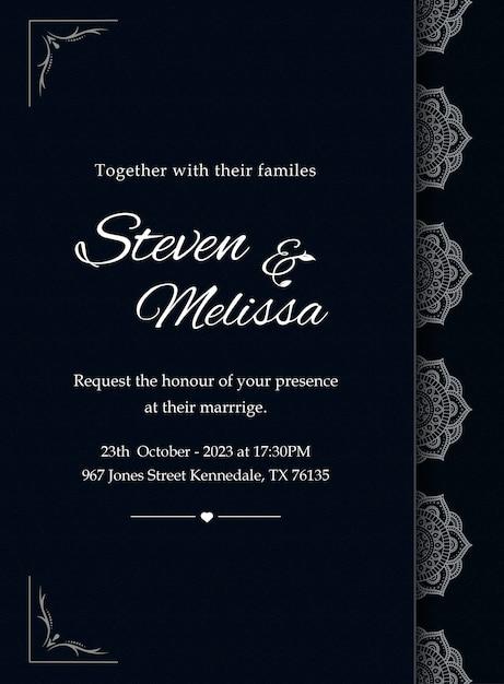 Elegante plantilla de tarjeta de invitación de boda con mandala plateado Vector Premium
