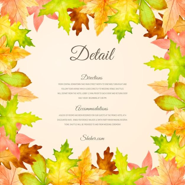 Elegante plantilla de tarjeta de invitación de boda de otoño vector gratuito
