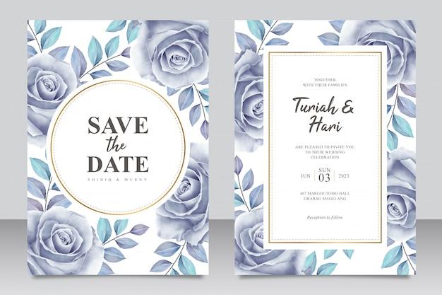 Elegante plantilla de tarjeta de invitación de boda con rosas azules aquarel Vector Premium