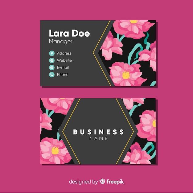 Elegante plantilla de tarjeta de visita floral vector gratuito