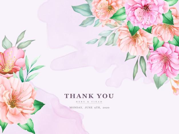 Elegante plantilla de tarjetas de invitación de boda con diseño de acuarela flor de cerezo vector gratuito