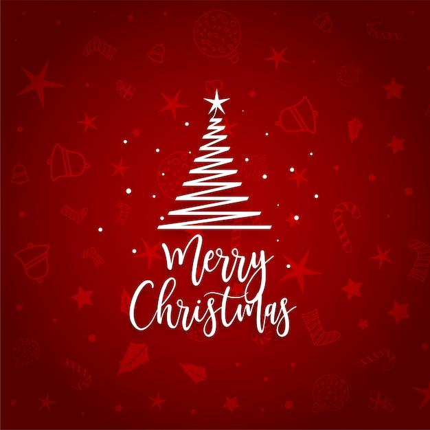 Elegante rojo feliz árbol de navidad vector gratuito