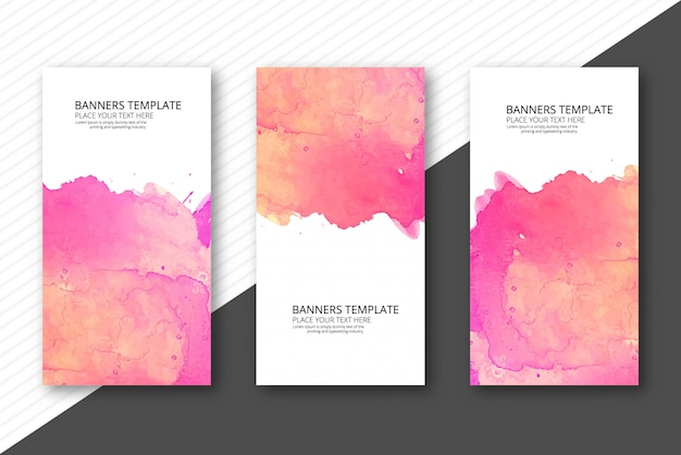 Elegante set de banners coloridos acuarelas vector gratuito