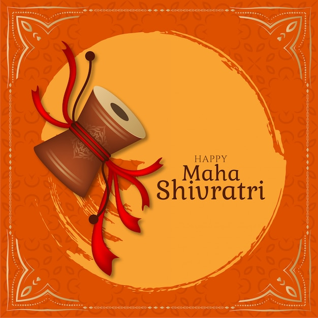 Elegante tarjeta de felicitación de maha shivratri con damru Vector Premium