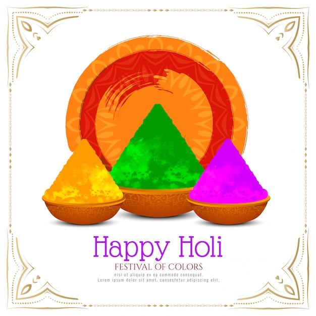 Elegante tarjeta de festival indio happy holi vector gratuito