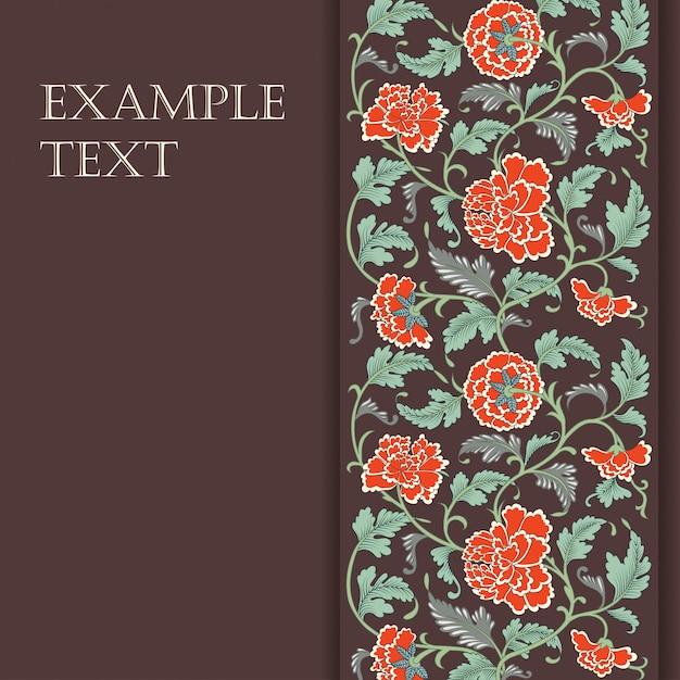 Elegante tarjeta con flores asiáticas decorativas. Vector Premium