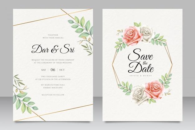 Elegante tarjeta de invitación de boda floral con hermoso dorado geométrico Vector Premium