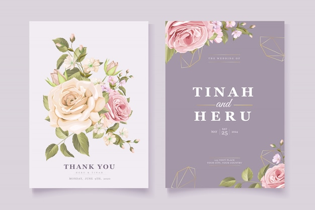 Elegante tarjeta de invitación de boda floral vector gratuito