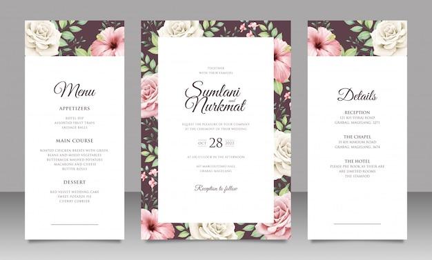 Elegante tarjeta de invitación de boda con hermosas flores y hojas Vector Premium
