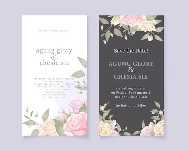 Elegante tarjeta de invitación de boda con rosas y hojas Vector Premium