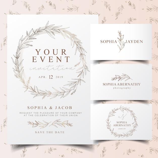 Elegante tarjeta de invitación de corona de eucalipto y diseño de logotipo Vector Premium