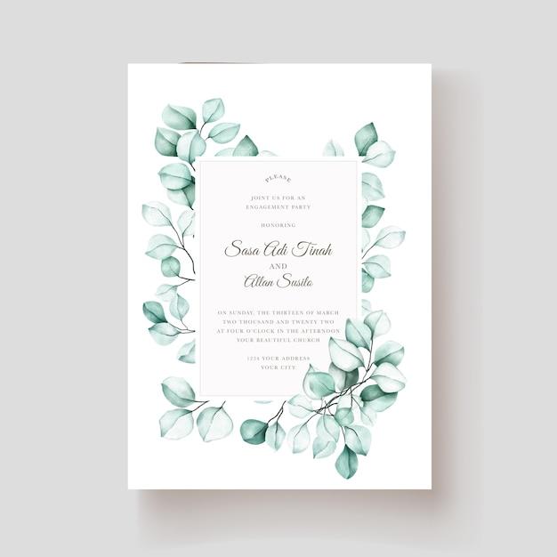 Elegante tarjeta de invitación de eucalipto acuarela vector gratuito