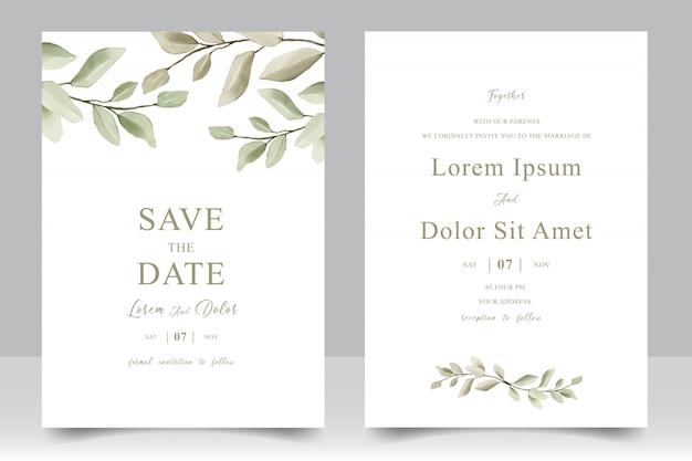 Elegante tarjeta de plantilla de invitación de boda con hojas de acuarela Vector Premium