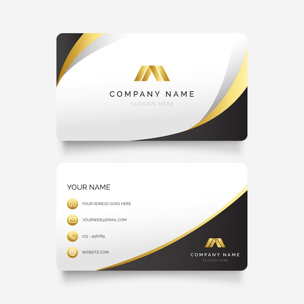 Elegante tarjeta de visita con formas doradas vector gratuito