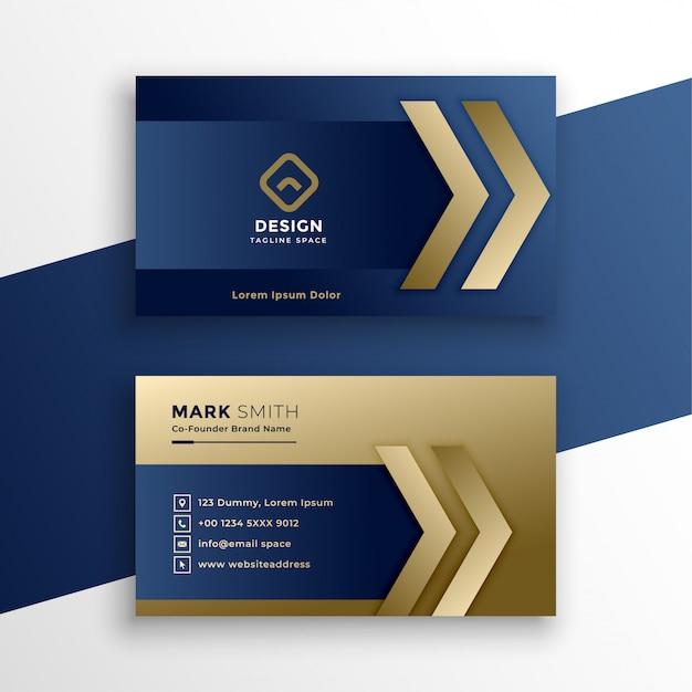 Elegante tarjeta de visita premium de oro. vector gratuito